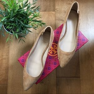 TORY BURCH Elizabeth nude pointed toe flat